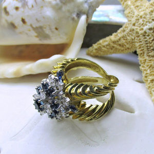 Jewelry - 18k Sapphire and Diamond Cocktail Ring 1.75ctw 15g
